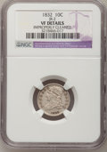 Bust Dimes: , 1832 10C --Improperly Cleaned--NGC Details. VF. JR-2. NGC Census: (1/240). PCGS Population (4/270). Mintage: 522,500. Numis...