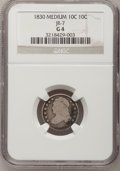 Bust Dimes: , 1830 10C Medium 10C Good 4 NGC. JR-7. NGC Census: (5/165). PCGSPopulation (1/193). Mintage: 510,000. Numismedia Wsl. Pric...