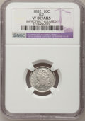 Bust Dimes: , 1832 10C --Improperly Cleaned--NGC Details. VF. JR-2. NGC Census:(1/240). PCGS Population (4/270). Mintage: 522,500. Numis...