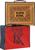 Football Collectibles:Others, 1974-75 Super Bowl Press Cases Lot of 2....