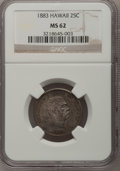 Coins of Hawaii: , 1883 25C Hawaii Quarter MS62 NGC. NGC Census: (109/557). PCGSPopulation (165/839). Mintage: 500,000. (#10987)...