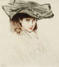 Prints, PAUL CÉSAR HELLEU (French, 1859-1927). Portrait of a Young Lady with Hat. Etching on paper. 14 x 12 inches (35.6 x 30.5 ...