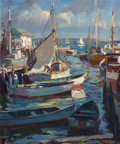 Fine Art - Painting, American:Modern  (1900 1949)  , EMILE ALBERT GRUPPE (American, 1896-1978). Sunlit Harbor,Gloucester. Oil on canvas. 30 x 25 inches (76.2 x 63.5 cm).Si...