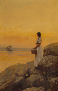 Fine Art - Painting, American:Antique  (Pre 1900), GILBERT GAUL (American, 1855-1919). Gazing Out to Sea. Oilon canvas. 23 x 15 inches (58.4 x 38.1 cm). Signed lower righ...