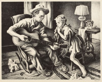 THOMAS HART BENTON (American, 1889-1975) The Music Lesson Lithograph 10 x 12-1/2 inches (25.4 x