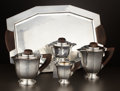 Silver Holloware, Continental:Holloware, A FIVE-PIECE SILVER PLATE TEA AND COFFEE SERVICE . Argit, France, circa 1935. Marks: ARGIT. 7-1/8 x 8-1/2 x 5 inches (18... (Total: 6 Items)