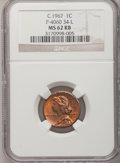 """Patterns, C.1967 General Motors """"Cent"""" P-4060, MS62 Red and Brown NGC. Control Code 34-L...."""