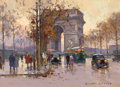 Fine Art - Painting, European:Modern  (1900 1949)  , EDOUARD-LÉON CORTÈS (French, 1882-1969). Arc de Triomphe et Avenue de Friedland, 1952. Oil on canvas. 13 x 18 inches (33...