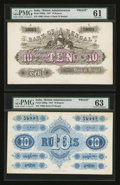 World Paper Money: , India Bank of Bengal 10 Rupees 31.8.1857 Pick S90fp/S90bp Proof Pair... (Total: 2 notes)