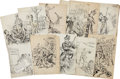 Antiques:Posters & Prints, Eleven Original Pen and Ink Boxing Cartoons From The PoliceGazette, Circa 1885-1895.... (Total: 11 Items)