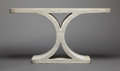 Furniture : American, AN AMERICAN CAST STONE CONSOLE TABLE . Karl Springer, New York, NewYork, circa 1981. Unmarked. 33 x 60-5/8 x 16-1/4 inches ...