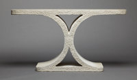 AN AMERICAN CAST STONE CONSOLE TABLE Karl Springer, New York, New York, circa 1981 Unmarked 33 x 60-5/8 x 1