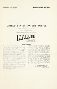 """Timely Comics Trademark Application and Registration for """"Marvel Mystery Comics"""" (May 23, 1941)"""