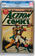 Golden Age (1938-1955):Superhero, Action Comics #8 (DC, 1939) CGC GD 2.0 Cream to off-white pages....