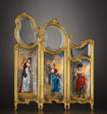 Decorative Arts, French:Other , A FRENCH GILT BRONZE AND ENAMEL MINIATURE THREE-PANEL SCREEN .Probably Limoges, France, circa 1890-1900. Marks: one panel m...