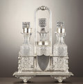 Silver Holloware, British:Holloware, A VICTORIAN SILVER PLATE FITTED CRUET STAND . Unidentified maker,probably Sheffield, England, circa 1870-1880. Marks: P, ...(Total: 13 Items)