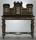 Furniture , AN ITALIAN RENAISSANCE REVIVAL DESK AND CABINET . Probably Florence, Italy, circa 1870-1890. Unmarked. 58-1/2 x 52 x 25-1/4 ...