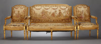 A FRENCH LOUIS XVI-STYLE GILT WOOD SETTEE AND TWO ARMCHAIRS Probably French, circa 1890 Unmarked 40 x 54-3/