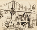 Fine Art - Work on Paper:Drawing, JAN MATULKA (American, 1890-1972). Manhattan View withBridge, circa 1926. Conte crayon on paper. 8 x 10 inches (20.3x ...
