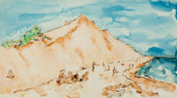 CHAIM GROSS (American, 1904-2004) At the Beach Watercolor on paper 12-1/2 x 22-1/2 inches (31.8 x