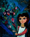 Fine Art - Painting, American:Contemporary   (1950 to present)  , WILLIAM GROPPER (American, 1897-1977). Girl with Bouquet.Oil on masonite. 12-1/4 x 10-1/2 inches (31.1 x 26.7 cm). Sign...