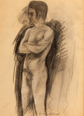 Fine Art - Work on Paper:Drawing, PAVEL TCHELITCHEW (Russian, 1898-1957). Academic Male Nude:Morning. charcoal on paper. 16 x 11-1/2 inches (40.6 x 29.2 ...