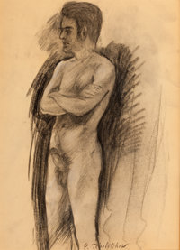 PAVEL TCHELITCHEW (Russian, 1898-1957) Academic Male Nude: Morning charcoal on paper 16 x 11-1/2