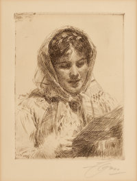 ANDERS LEONARD ZORN (Swedish, 1860-1920) The Letter, 1913 Etching 6 x 4-1/2 inches (15.2 x 11.4 c