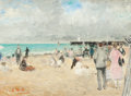 Fine Art - Painting, European:Modern  (1900 1949)  , FRANÇOIS GALL (French, 1912-1987). An Afternoon at theBeach. Oil on canvas. 11 x 15 inches (27.9 x 38.1 cm). Signedlow...