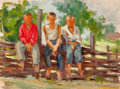 Fine Art - Painting, Russian:Contemporary (1950 to present), IGOR KOLOMIETZ (Russian, 20th Century-). Friends, 1950. Oilon board. 12-1/2 x 16-1/2 inches (31.8 x 41.9 cm). Signed an...