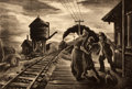 Prints, THOMAS HART BENTON (American, 1889-1975). Morning Train. Lithograph. 9-1/4 x 13-1/2 inches (23.5 x 34.3 cm). Signed lowe...