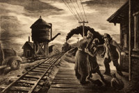 THOMAS HART BENTON (American, 1889-1975) Morning Train Lithograph 9-1/4 x 13-1/2 inches (23.5 x 3