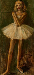 Fine Art - Painting, American:Contemporary   (1950 to present)  , MOSES SOYER (American, 1899-1974). Young Dancer, 1945. Oilon canvas. 22 x 10 inches (55.9 x 25.4 cm). Signed and dated ...
