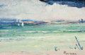 Fine Art - Painting, American:Modern  (1900 1949)  , LÉON DABO (American, 1868-1960). Seascape. Oil on masonite.7 x 11 inches (17.8 x 27.9 cm). Signed lower right: LeonD...