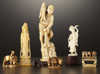 A GROUP OF SEVEN ASIAN IVORY CARVINGS 20th Century Marks: Signed (unidentified) 7-1/2 inches high (19.1 cm)
