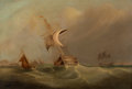 Fine Art - Painting, European:Antique  (Pre 1900), BRITISH SCHOOL (19th Century). Ships at Sea. Oil on canvas.25 x 37 inches (63.5 x 94.0 cm). Initialed lower left:C.H...