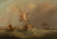 BRITISH SCHOOL (19th Century) Ships at Sea Oil on canvas 25 x 37 inches (63.5 x 94.0 cm) Initi