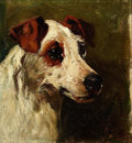 Fine Art - Painting, European:Antique  (Pre 1900), JOHN EMMS (British, 1843-1912). Fox Terrier. Oil on canvaslaid on board. 6-1/2 x 6 inches (16.5 x 15.2 cm). Signed lowe...
