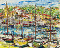 Fine Art - Painting, European:Contemporary   (1950 to present)  , LIUBOSLAV HUTSALIUK (American, 1923-2003). PortSaint-Jean-Cap-Ferrat, 1970. Oil on masonite. 8-3/4 x 10-3/4inches (22....