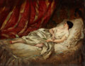 Paintings, HENRI LAFON (French, 1809-1909). Resting, 1853. Oil on panel. 8 x 10-1/2 inches (20.3 x 26.7 cm). Signed and dated lower...