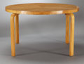 Furniture : Continental, A FINNISH LAMINATED BIRCH DINING TABLE . Alvar Aalto, Finland,circa 1930. Unmarked. 29 x 48-1/2 inches (73.7 x 123.2 cm). ...