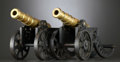 Decorative Arts, British:Other , A PAIR OF BRASS AND CAST IRON MINIATURE CANNONS . Probably English,circa 1900. Unmarked. 7 x 18 x 5-1/2 inches (17.8 x 45.7... (Total:2 Items)