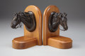 Fine Art - Sculpture, American:Contemporary (1950 to present), GEORGE B. MARKS (American, 1923-1983). Horse Head Bookends,1979. Bronze. 9 x 5 x 6 inches (22.9 x 12.7 x 15.2 cm). Ed. ...(Total: 2 Items)