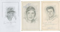 """Baseball Collectibles:Others, Pittsburgh Pirates Stars Signed Original Artwork Lot of 4 From""""Raitt Collection""""...."""