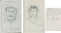 """Baseball Collectibles:Others, Joe Medwick and Enos Slaughter Signed Original Artwork Lot of 2From """"Raitt Collection""""...."""