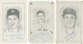 "Baseball Collectibles:Others, Boston Red Sox Stars Signed Original Artwork Lot of 3 From ""RaittCollection""...."