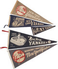 Baseball Collectibles:Others, 1940's-60's New York Yankees Pennants Lot of 5....