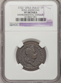 Colonials: , 1722 PENNY Rosa Americana Penny, UTILE--Environmental Damage--NGC Details. VF. NGC Census: (0/12). PCGS Population (4/50). ...