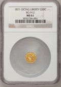 California Fractional Gold: , 1871 50C Liberty Octagonal 50 Cents, BG-912, R.3, MS61 NGC. NGCCensus: (2/28). PCGS Population (9/130). (#10770)...