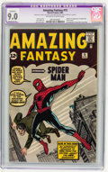 Silver Age (1956-1969):Superhero, Amazing Fantasy #15 (Marvel, 1962) CGC Apparent VF/NM 9.0 Moderate (P) Off-white to white pages....